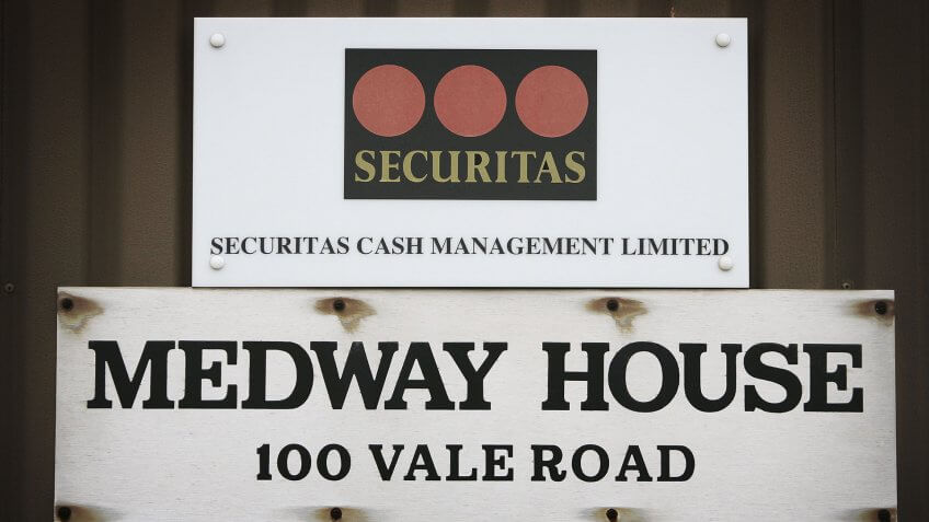 TONBRIDGE, UNITED KINGDOM - FEBRUARY 23:  A sign is displayed at the Securitas depot on February 23, 2006 in Tonbridge, England.