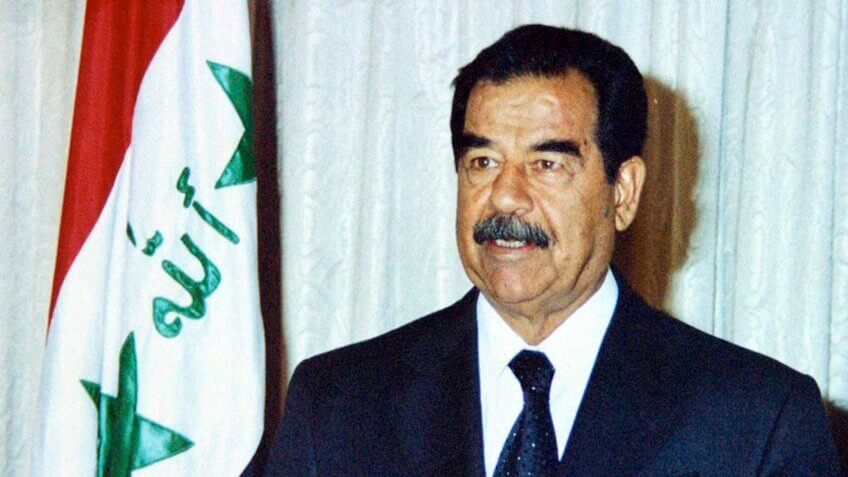 BAGHDAD, IRAQ - JULY 17:  Iraqi President Saddam Hussein speaks marking the 34th anniversary of Iraq's revolution which brought the Baath Party to power July 17, 2002 in Baghdad, Iraq.