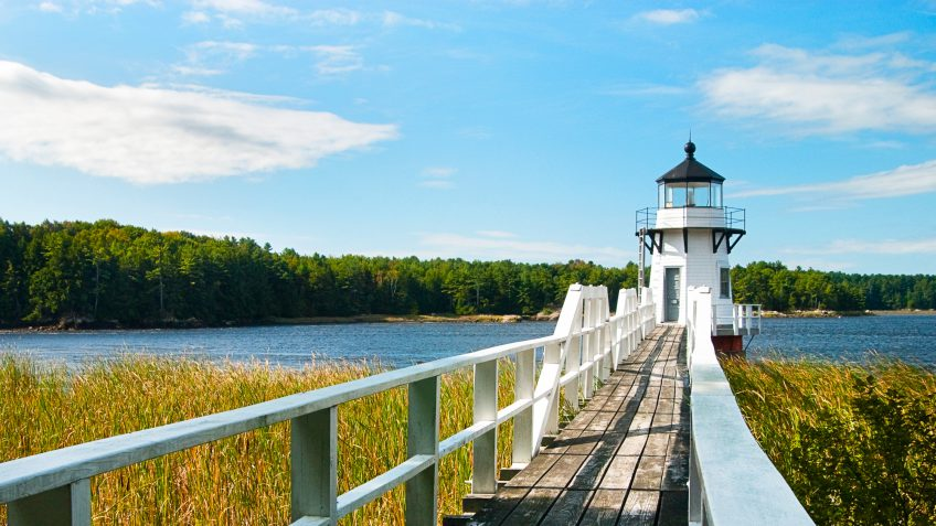 Maine lighthouse water dock