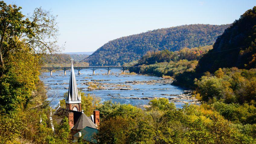 West Virginia landscape water bridge