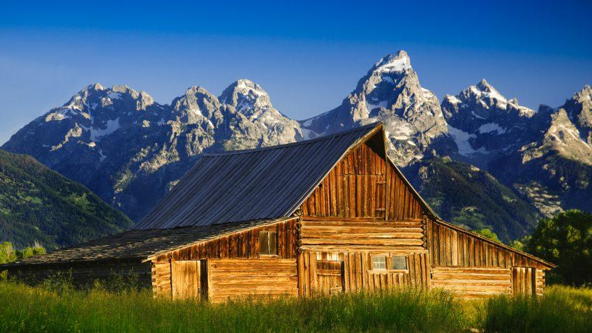 Wyoming farm mountain landscape
