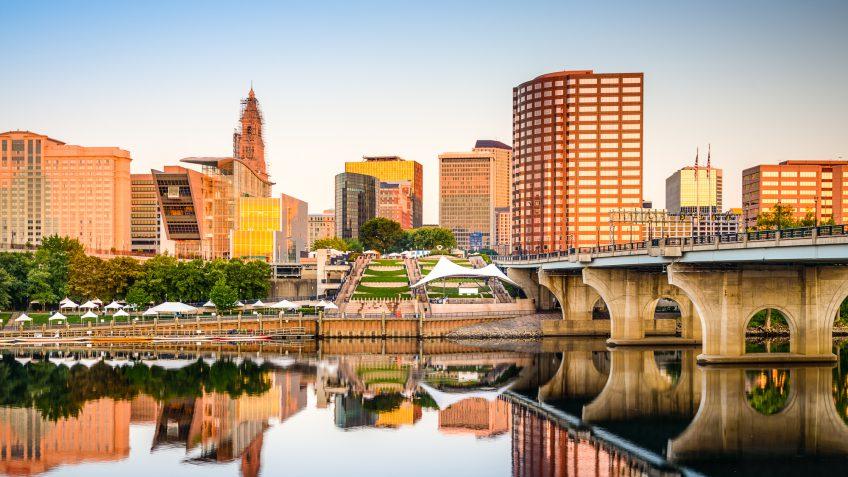 Connecticut city river bridge