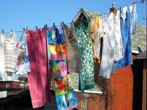 save money hang drying clothes