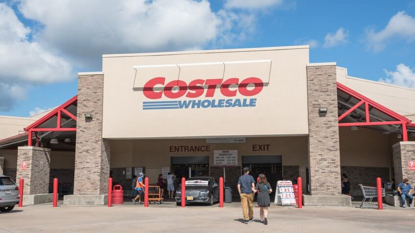 HOUSTON, US - SEP 10, 2016: Costco Wholesale storefront with customers walk in.