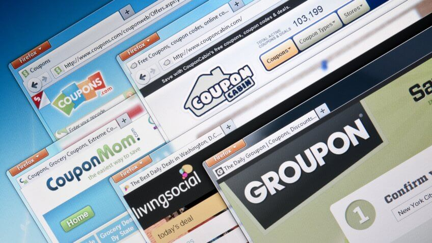 Budapest, Hungary - July 28, 2011: Selection of major Deal-of-the-day companies web sites.