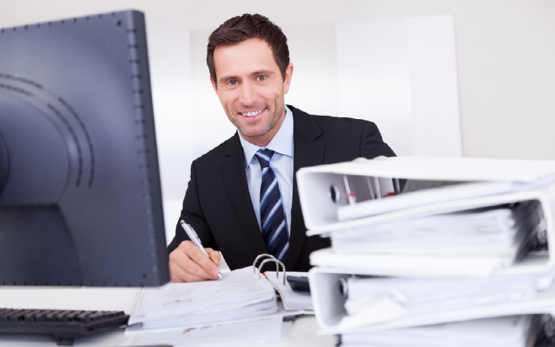 Accountant Working On Budget At Desk. Stock Photo - Image: 53996467