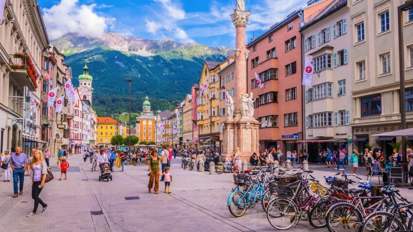 2017: People are passing through the town square dominated by An, AUSTRIA, Austria., How Much to Tip When Traveling to These 25 Countries, INNSBRUCK, JULY 27