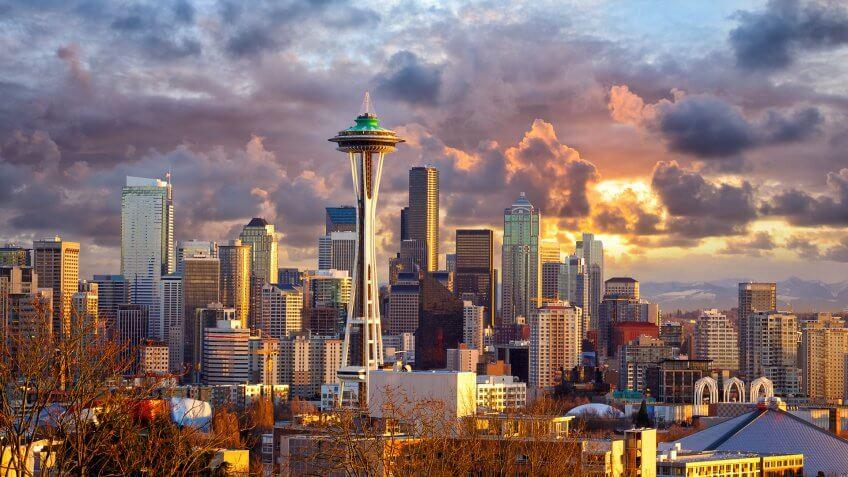 Seattle skyline at sunset, WA, USA.