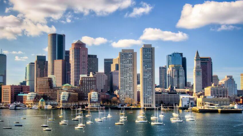 Boston skyline from waterfront.