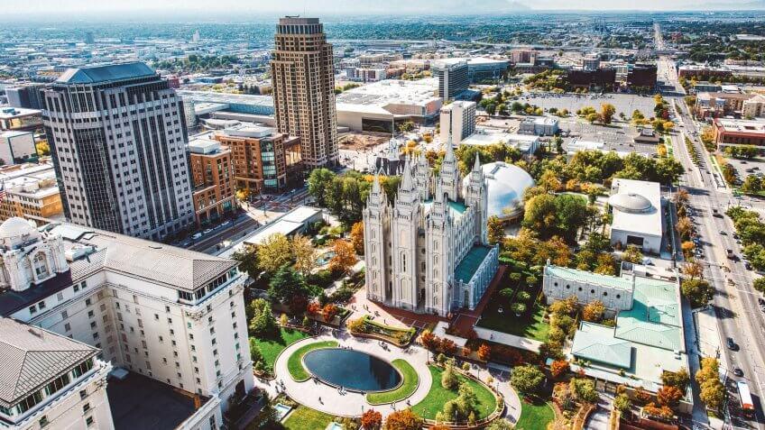 Salt Lake City Aerial View, Utah.