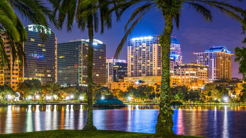 Orlando Florida, lake Eola, skyline, skyscrapers, night.