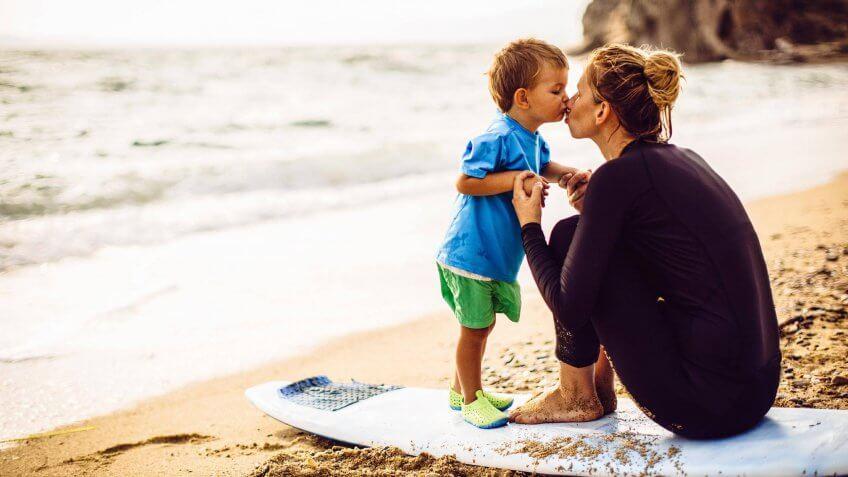 family trip at the beach