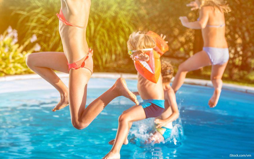 swimming at the neighborhood pool