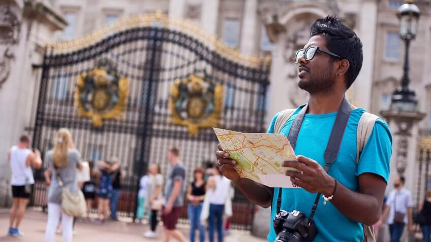 tourist looking at a map