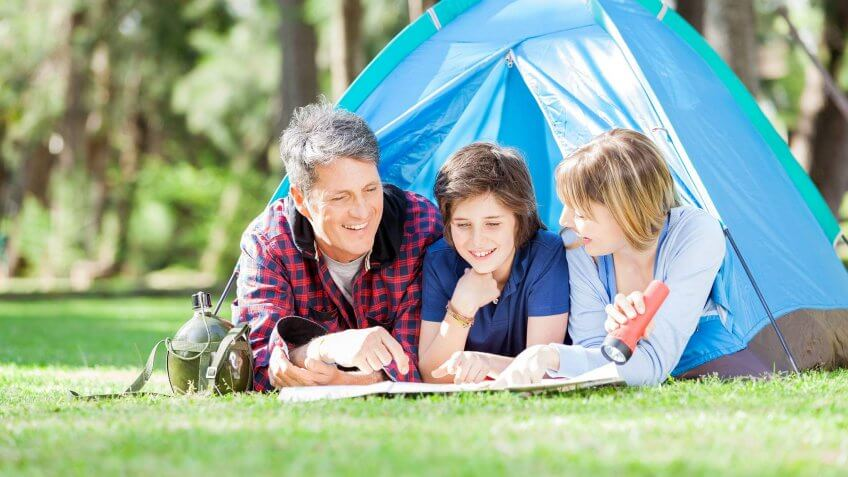 family camping outside