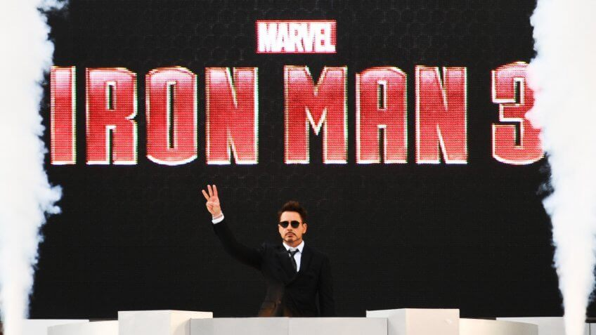 London. 18/04/2013 Picture by: Steve Vas, Odeon Leicester Square, Robert Downey Jr. arriving for the Iron Man 3 Premiere, 'Harry Potter, ' 'Avengers' and # Other Billion Dollar Movies, ' 'Jurassic Park