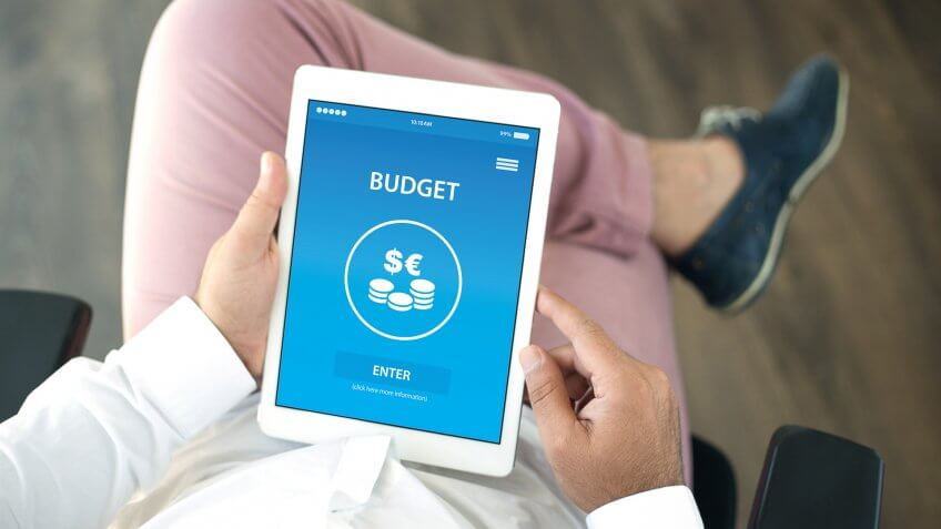 budgeting app on a tablet ipad