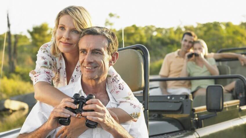 middle aged couple on a safari