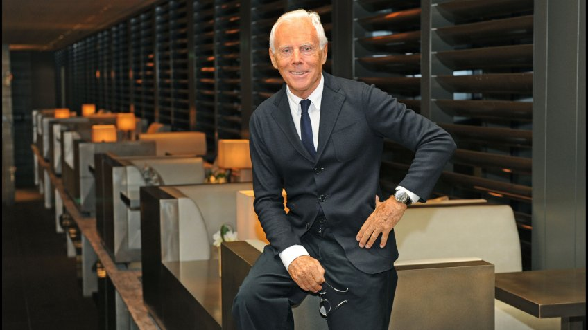 June 2015 - Giorgio Armani posed during the Milan fashion week.