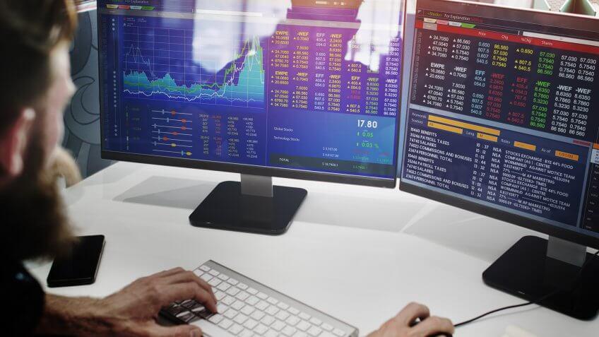 Businessman Working Finance Trading Stock.
