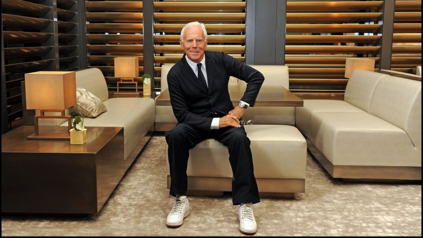 June 2015 - Giorgio Armani posed during the Milan fashion week.
