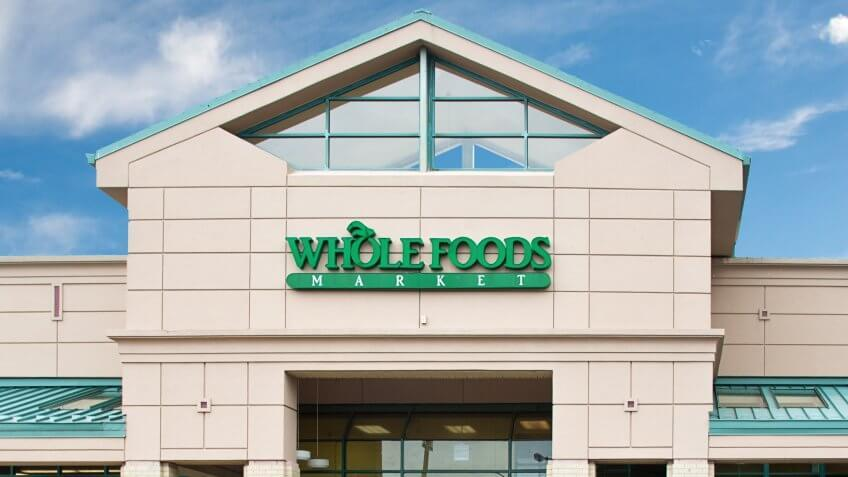 Reston, VA - USA - August 8, 2013: Whole Foods Market Natural and Organic Grocery Store, midday in Reston, Virginia.