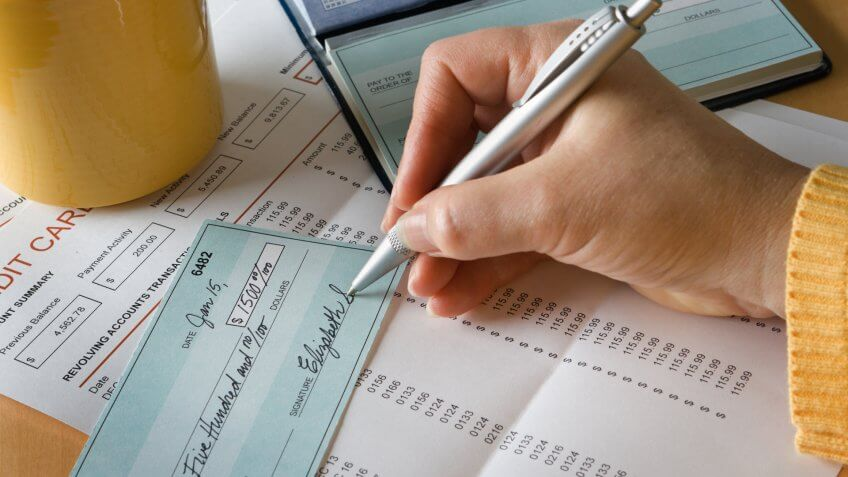 Paying credit debt with personal check.
