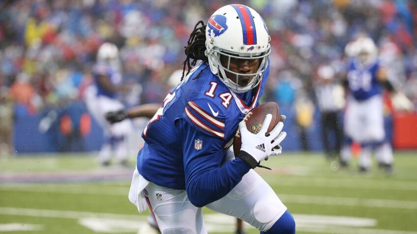 ORCHARD PARK, NY - DECEMBER 27:   Sammy Watkins #14 of the Buffalo Bills makes a catch against the Dallas Cowboys during the second half at Ralph Wilson Stadium on December 27, 2015 in Orchard Park, New York.