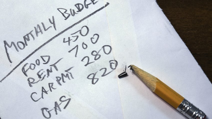 a frustrated broken pencil calculating monthly budget showing high cost of gas and driving.
