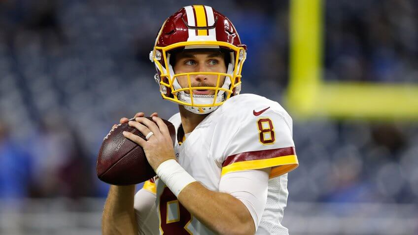 DETROIT, MI - OCTOBER 23: Kirk Cousins #8 of the Washington Redskins warms up prior to the game against the Detroit Lions at Ford Field on October 23, 2016 in Detroit, Michigan.