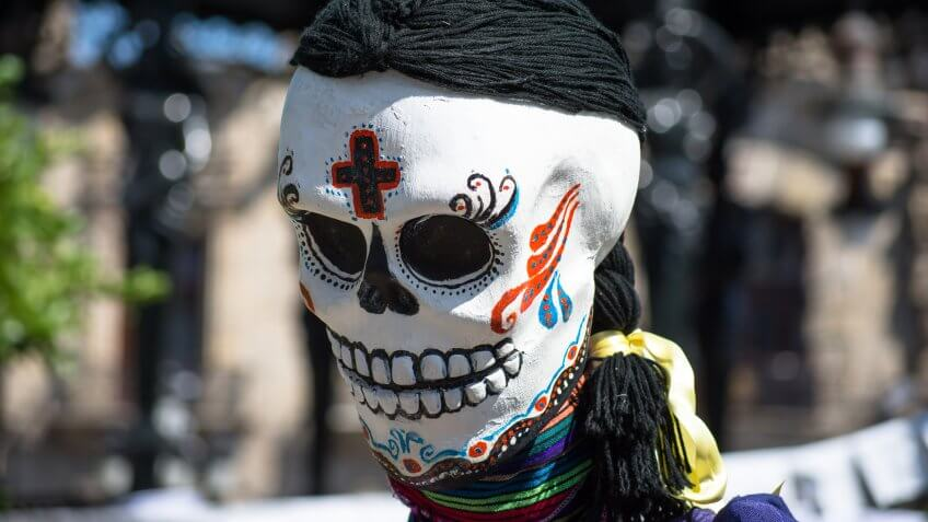 Dia de los Muertos skull head