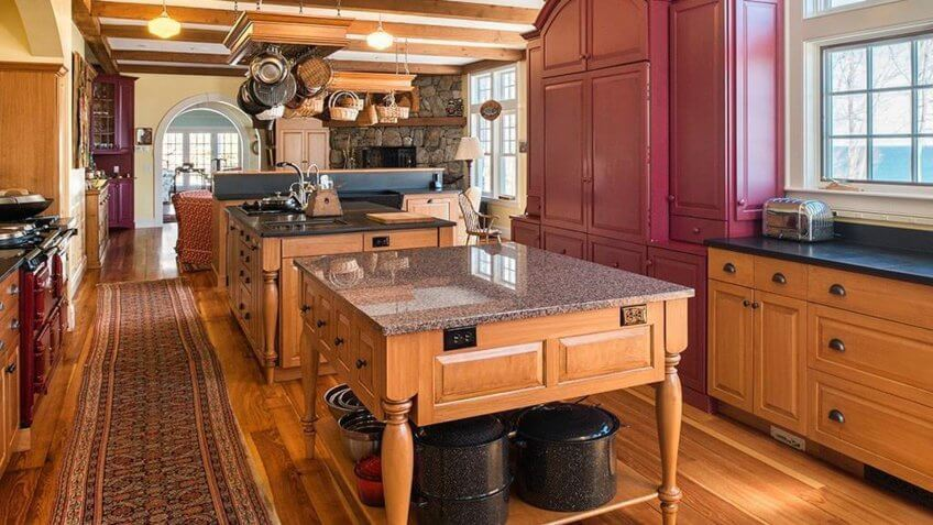 large kitchen in an oceanfront house in Maine
