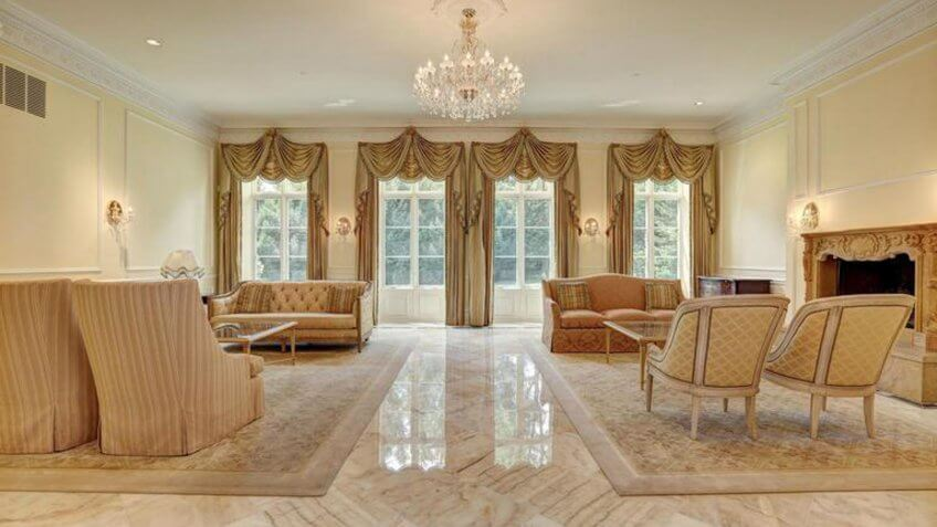 Living room of a chateau-style mansion in Washington DC