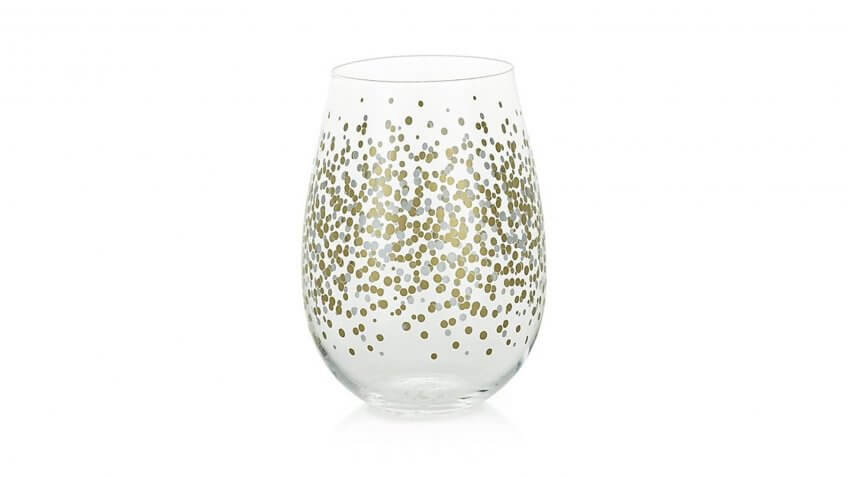 Metallic Dots Stemless Wine Glass