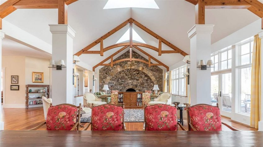 vaulted ceilings in the living room of a North Carolina home