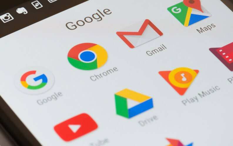 Close-up view of Google apps