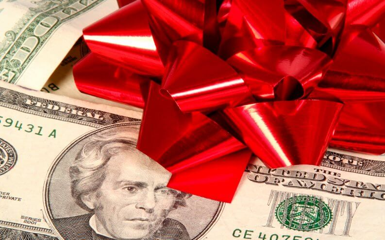 red bow on money