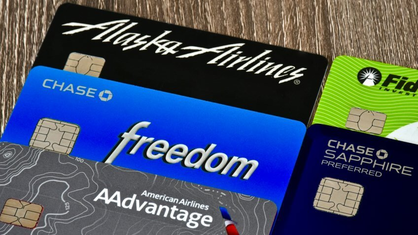 Various airlines rewards credit cards
