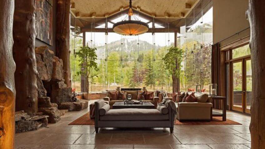 rustic-style living room in a home in Utah