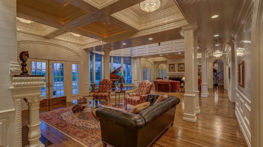 spacious living room of a mansion in Lexington, KY