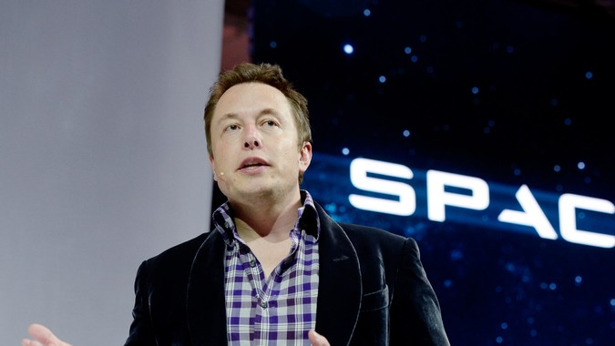 HAWTHORNE-CA-MAY 29: SpaceX CEO Elon Musk unveils the company's new manned spacecraft, The Dragon V2, designed to carry astronauts into space during a news conference on May 29, 2014, in Hawthorne, California.