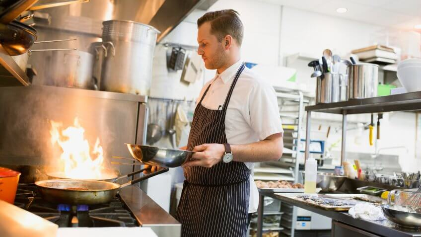 10 Best and Worst Industries for Work-Life Balance, 30-34 years, 30-34 years, apron, blurred motion, candid, caucasian, chef, col, Alberta, Apron, Calgary, Canada, Candid, Caucasian, Chef, Cooking, Expertise, Heat, Motion, Occupation, One Person, Real People, Restaurant, Skill, Stubble, Wearing, Working, blurred motion, color image, commercial kitchen, copy space, flame, flaming, food and drink, food and drink industry, gourmet, holding, horizontal, hot, indoors, looking down, man, mid adult, mid adult men, pan, people, photography, preparation, side view, standing, stove, three quarter length, tilt