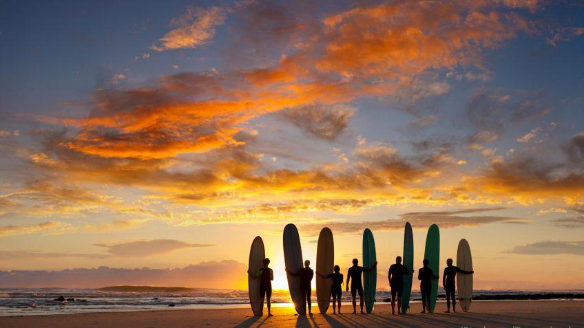 Australian spring vacation surfing on beach