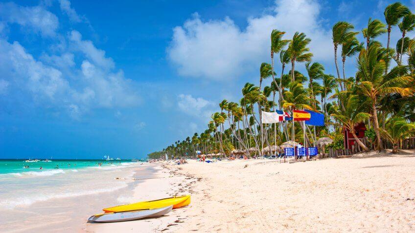 Beatiful sandy Bavaro beach, Punta Cana.