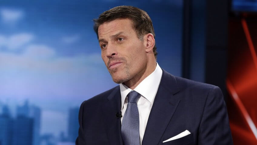 """Mandatory Credit: Photo by Richard Drew/AP/REX/Shutterstock (6047056f)Tony Robbins Tony Robbins, motivational speaker, personal finance instructor, and self-help author, is interviewed during the taping of """"Wall Street Week,"""" on the Fox Business Network, in New YorkWall Street Week Robbins, New York, USA."""
