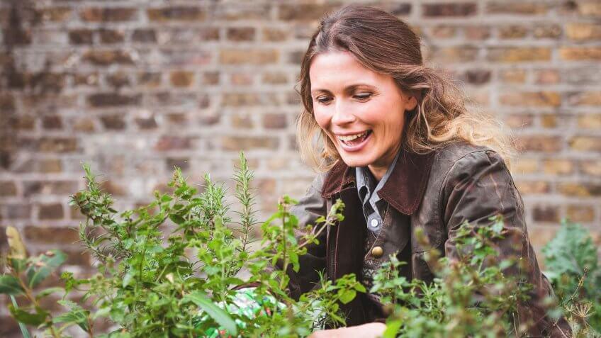 woman planting a garden