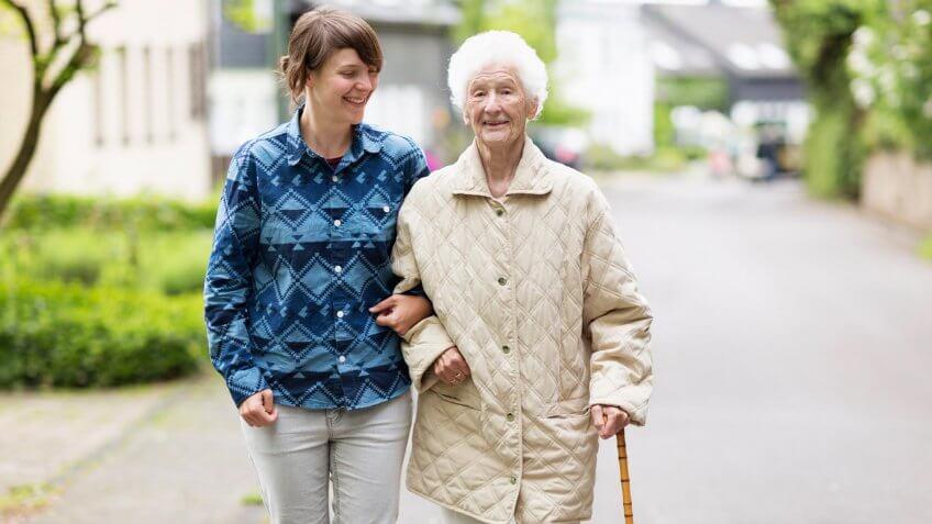 woman walking elderly senior