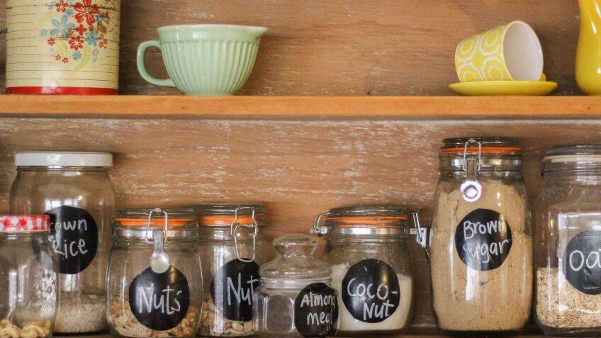 mason jars in cupboard