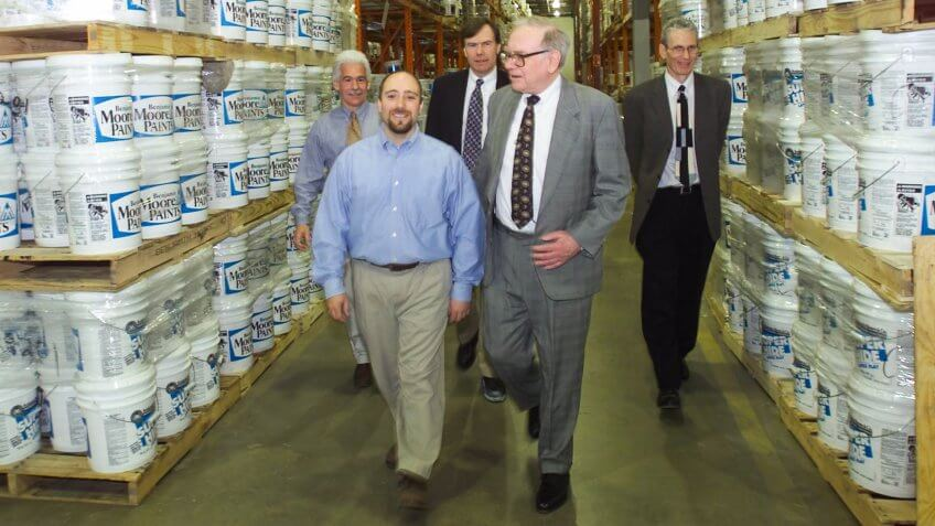 Warren Buffett gets a personal tour of Benjamin Moore Paints' Clifton, NJ Distribution Center on Tues May 8, 2001.