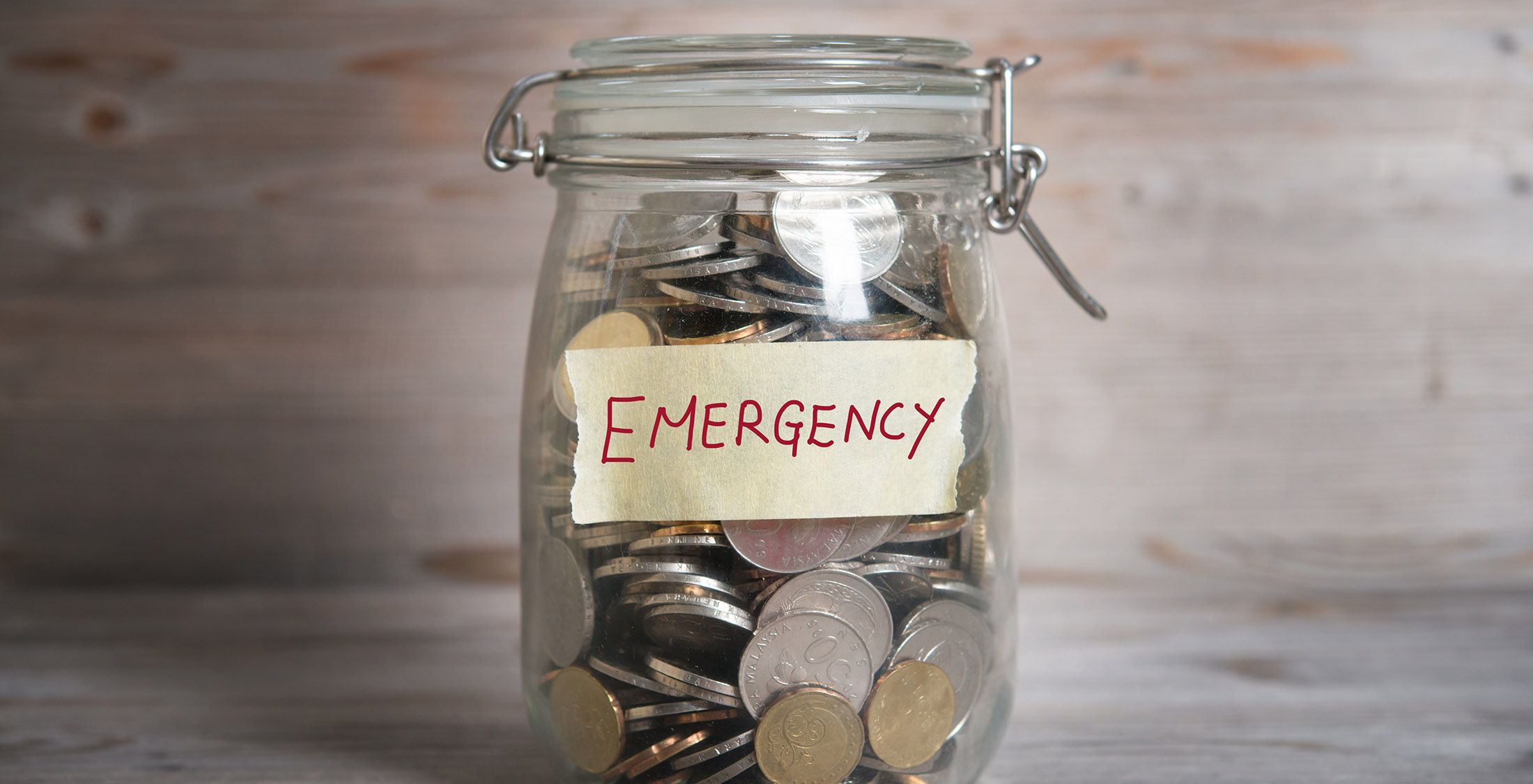 emergency jar filled with coins